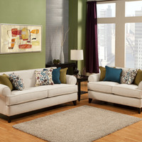 A.M.B. Furniture & Design :: Living room furniture :: Sofas and Sets :: Sofa Sets :: 2 pc Bonnie Ivory fabric upholstered sofa and love seat set with rounded set back arms and piping trim accents