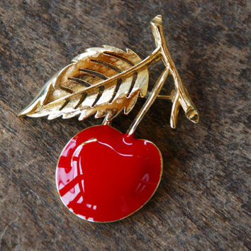 Vintage CROWN TRIFARI Cherry Brooch Red Enamel Textured Gold Tone Leaf Branch Fruit Pin Up 1960's // Vintage Designer Costume Jewelry