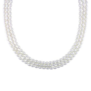 5-6mm Freshwater White Pearl Strand Necklace