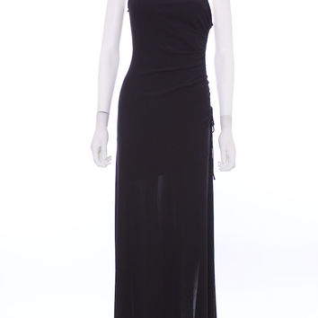 LAUNDRY by Shelli Segal Black One Shoulder Side Rouched Evening Gown Size 4
