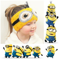 Knit Headband, Minion Eyes, Ear Warmer, Head Wrap, Despicable Me, Girls Head Band, Girls Spring Outfit, Spring Accessory, Cute Girls Outfit