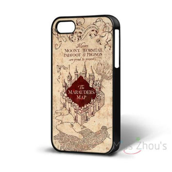 For iphone 4/4s 5/5s 5c SE 6/6s 7 plus ipod touch 4/5/6 back skins mobile cellphone cases cover Harry Potter Marauders Map