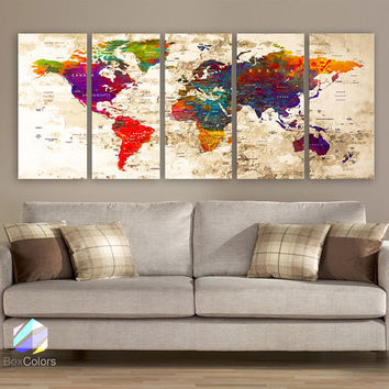 "XLARGE 30""x70"" 5 Panels 30""x14"" Ea Art Canvas Print Watercolor Multi Color Old Map World Push Pin Travel Wall decor (framed 1.5"" depth)M1816"
