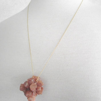 Bold Aragonite Necklace, Raw Aragonite Pendant, Statement 14kt Gold Necklace, 24 inch Gold Chain, Long Cluster Pendant