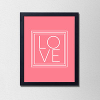 Minimalist Love Poster. Pink Love Poster. Typography Poster. Love Quote. Modern Love Print. Pink and White. Minimalist Print.