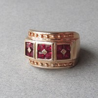 Vintage Etruscan Revival Gold on Sterling Silver Pink Garnet Wide Band Ring, Size 6