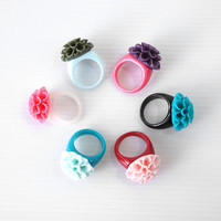 Flower Ring, Colorful Resin Flower Ring Size 8, Chrysanthemum Flower Plastic Ring, Color Ring, Friendship Ring
