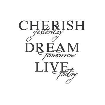 "wall quotes wall decals - ""Cherish, Dream, Live"""
