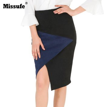 Missufe Patchwork Suede Leather Skirts Women Bandage Pencil Skirt 2017 Side Zipper Sheath Autumn Winter Women Skirt Faldas Mujer