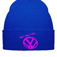 volswagen thats how i roll embroidery - Beanie Cuffed Knit Cap