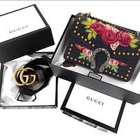 Gucci Trending Women Stylish Rose Embroidery Rivet Metal Chain Buckle Leather Shoulder Bag Crossbody Satchel High Quality Black I/A