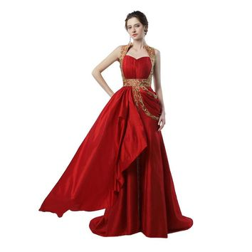 Dubai Evening Dresses Sweetheart with Short Train Red Satin Gold Embroidery Works Arabic Evening Gown
