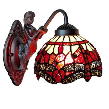 Tiffany Style Dragonfly Wall Sconce Lamp Fixture