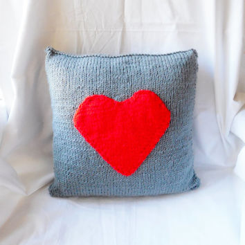Gray Pillow with Red Heart Applique, Hand Knit Pillow Cover, Farmhouse Pillow, Country Home Decor, Red Heart Pillow