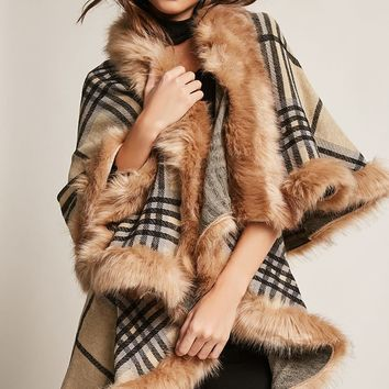 Plaid Faux Fur Poncho