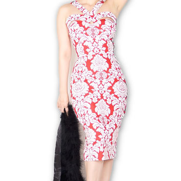 Goddess wiggle Dress in Red & White Damask Print