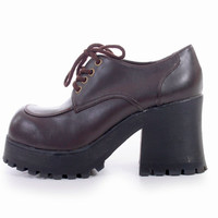 90s Vintage Chunky Platform Brown Vegan Leather Shoes Oxfords Club Kid Hipster Goth Lace Up Ankle Boots Womens Size US 8 UK 6 EUR 38 39