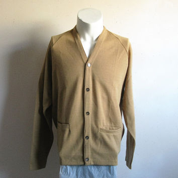 Vintage 1960s Cardigan Camel Brown Long Sleeve Wool Blend Knit Sweater Medium