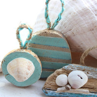Collection of Hand Painted Nautical Driftwood Ornaments,  for a Beach Themed Tree