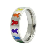 Stainless Steel Autism Awareness Ring with Colored Ribbons