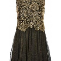 Layer Lace Glitter Brocade Party Dress