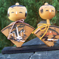 Vintage Kokeshi Japanese Dolls...Wooden... Mid Century...1960s...Souvenir...Quirky...Kitsch