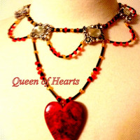 Queen of Hearts Inspired Heart Necklace Choker in Gold Red Black Custom