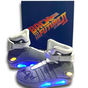 MICHAEL J. FOX SIGNED BACK TO THE FUTURE AIR MAG SHOES PAIR COA AUTOGRAPH