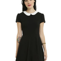 Black Textured White Collar Dress