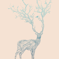 Blue Deer Art Print by Huebucket | Society6