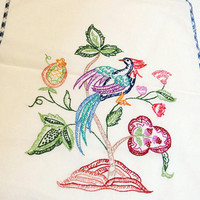 Vintage Table Runner, Embroidered Bird of Paradise, White Cotton