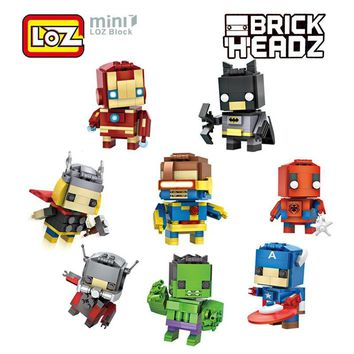 Batman Dark Knight gift Christmas LOZ Super Hero Building Blocks Deadpool Superman Captain America Batman Office Small Ornaments Decompression Building Blocks Toy AT_71_6