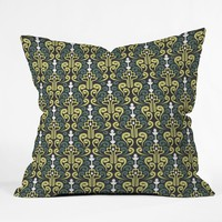 Raven Jumpo Grey Damask Throw Pillow