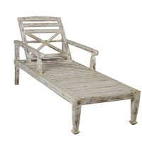 SOLID TEAK WOOD BEACH CHAISE LOUNGE CHAIR - Antique Finish