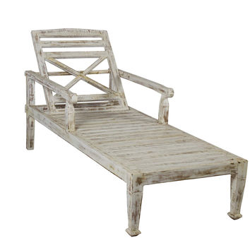 SOLID TEAK WOOD BEACH CHAISE LOUNGE CHAIR- Antique Finish