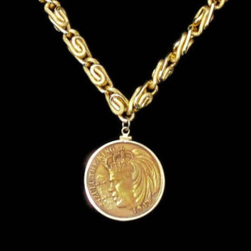 1968 Mardi Gras Zulu King Coin Necklace, Opposite Side The African Lion