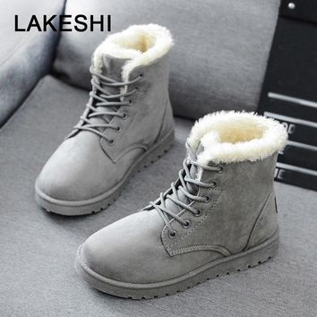 Women Boots Faux Suede Winter Boots Women Lace Up Women Ankle Boots Warm Fur Winter Shoes Solid Snow Boots Leather Women Shoes