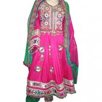 Kochi Dress Gagra in pink colour with Embroidery, kuchi