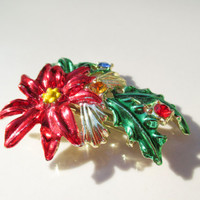 Christmas Poinsettia Brooch Pin Vintage xmas jewelry JJ