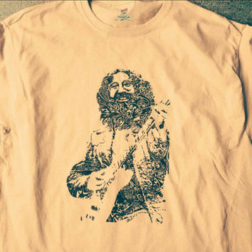 JERRY GARCIA - Grateful Dead Guitarist Swirly Tee - JGB - 60's San Francisco Psychedelic Acid Rock T-shirt - Capt Trips Himself