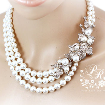 Wedding Necklace three strands Swarovski Pearl Rhinestone Necklace Wedding jewelry Bridal Necklace Wedding Accessories Flower Necklace lily