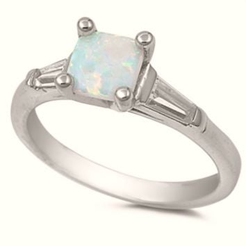 .925 Sterling Silver White Fire Opal Ladies Ring Size 4-10 Princess Cut Solitaire