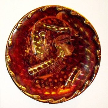 Vintage Egyptian Pharaoh Copper Plate, Wall Hanging, Decorative Copper and Brass Plate
