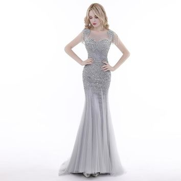 New Design Evening Dresses Luxury Grey Mermaid with Tassel Beaded Backless Floor Length Party Dress Prom Gowns