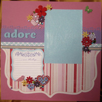 12x12 Premade scrapbook page  adore girly sweet  by ScrappyDoodads