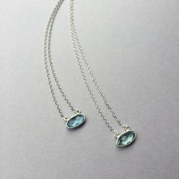 "Blue Green Quartz, Dainty Crystal Solitaire, Delicate Necklace, Sterling Silver Bezel Set, 15""-17"" Chain, Modern Minimalist, Gifts for Women"