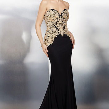 Black Strapless Evening Dress 31126
