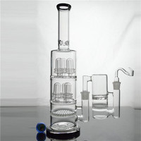 "Big Glass Water Pipes 16"" Six Birdcage Honeycomb Perc Recycler Oil Rigs Two Function 5mm Thick Dab Rig Glass Bong  Ash Catcher"