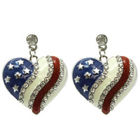 Heart Shape American Flag Fashion Earrings