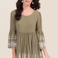 Kamilah Embroidery Bell Sleeve Dress